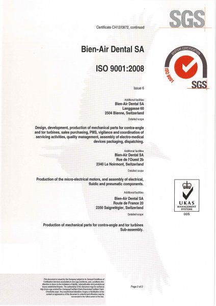 certifikát Bien-Air