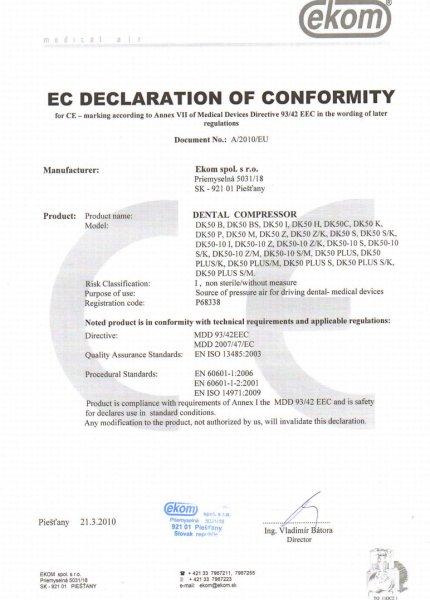 Ekom EC declaration of conformity