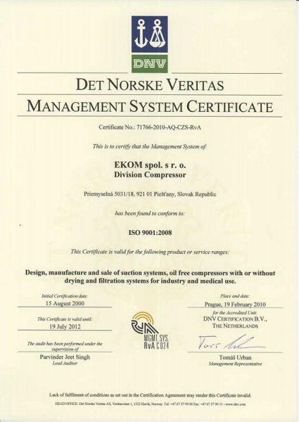 Ekom ISO certifikat