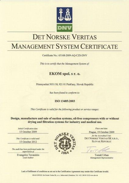 Ekom management system certifikat