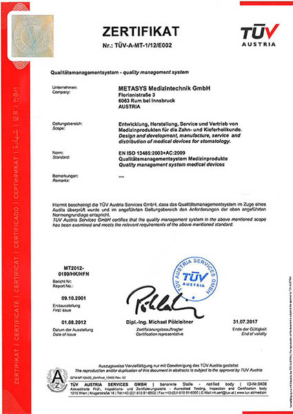 Metasys certificate EN ISO 13485