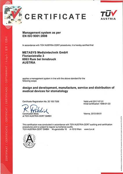 Metasys certificate EN ISO 9001