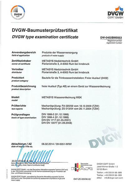 Metasys DVGW certifikat 2010